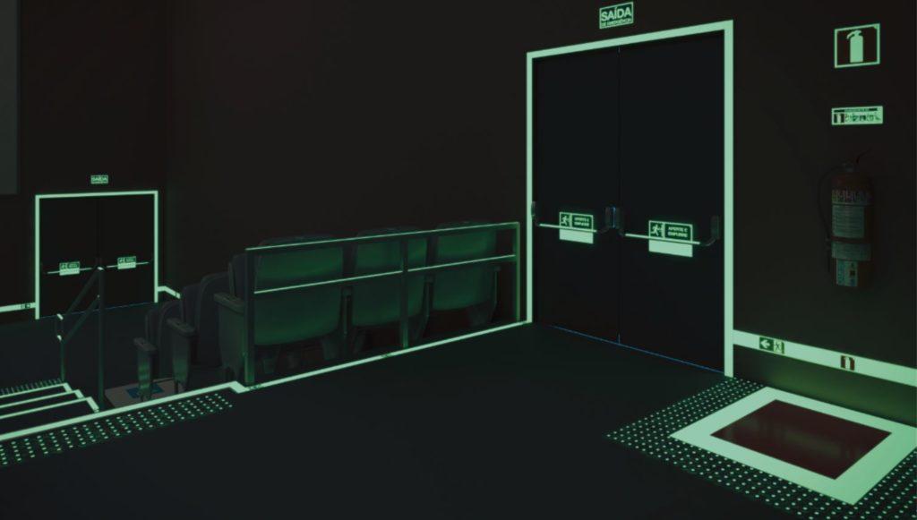 porta corta-fogo pressurizada fotoluminescente
